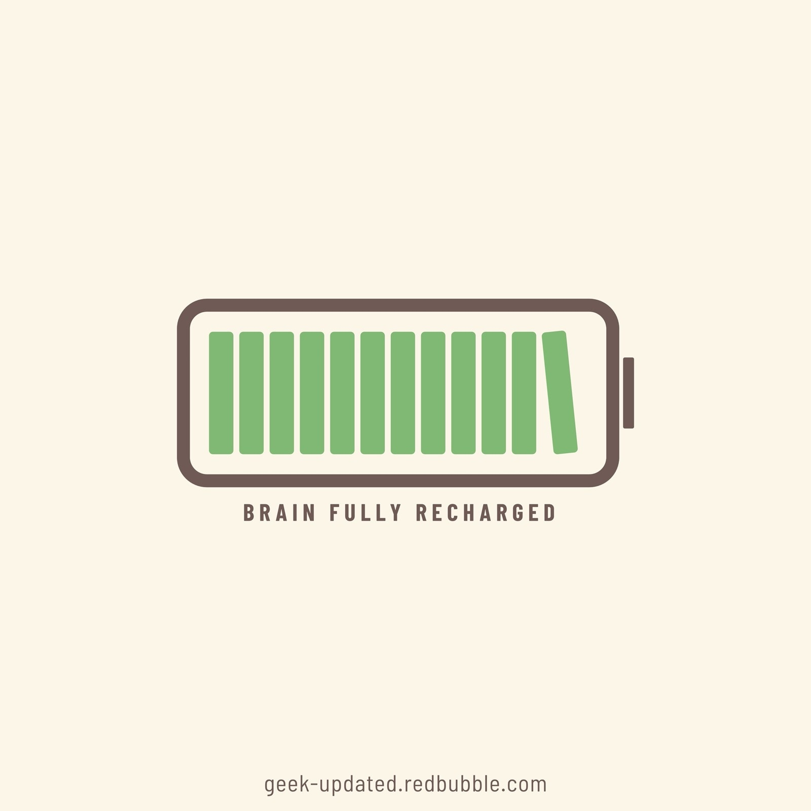 Brain fully recharged with books - design by Piotr Kowalczyk