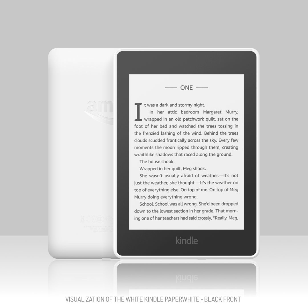 White Kindle Paperwhite visualization - black front