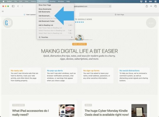Add page to Favorites - Safari Mac