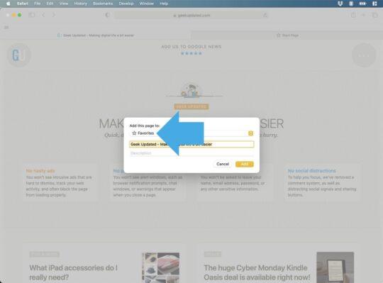 Safari Mac - add page to Favorites
