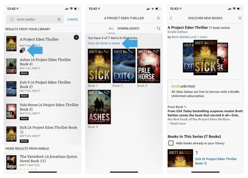 Kindle for iOS group series in order