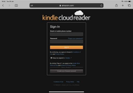 Read Kindle books in iPad Safari browser