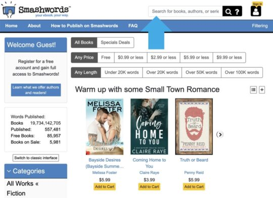 Smashwords find foreign-language books - use search box
