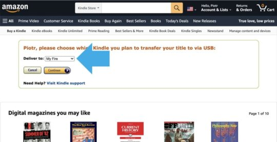 Transfer via Computer Kindle ebook purchase - select device