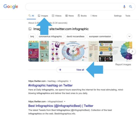 Twitter image search with Google web search