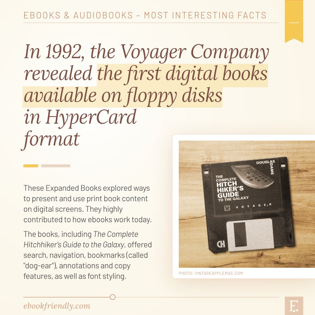 First books on floppy disks 1992 Expanded Books Voyager - 50 years of ebooks