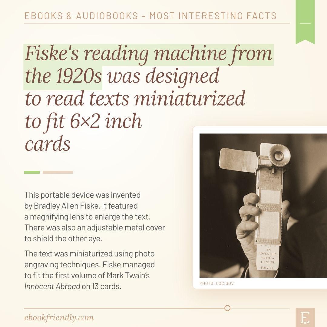 Fiske reading machine 1920s - predecessors of e-readers - 50 years of ebooks