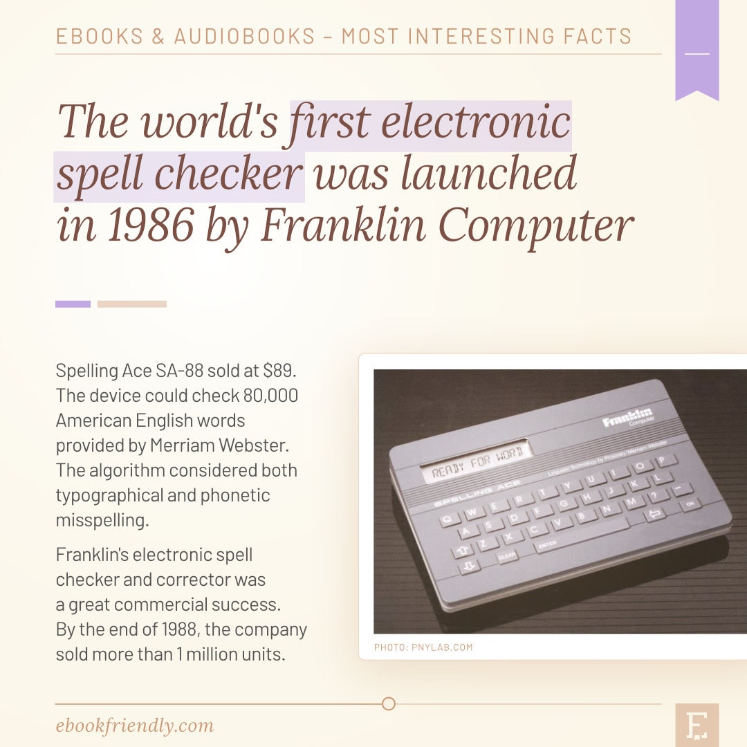 Franklin Spelling Ace first electronic spell checker 1986 - 50 years of ebooks