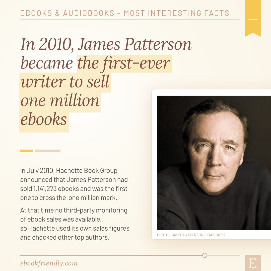 James Patterson first author one million ebooks 2010 - 50 years of ebooks
