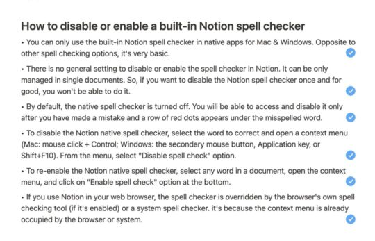 Third-party spell checkers in Notion app