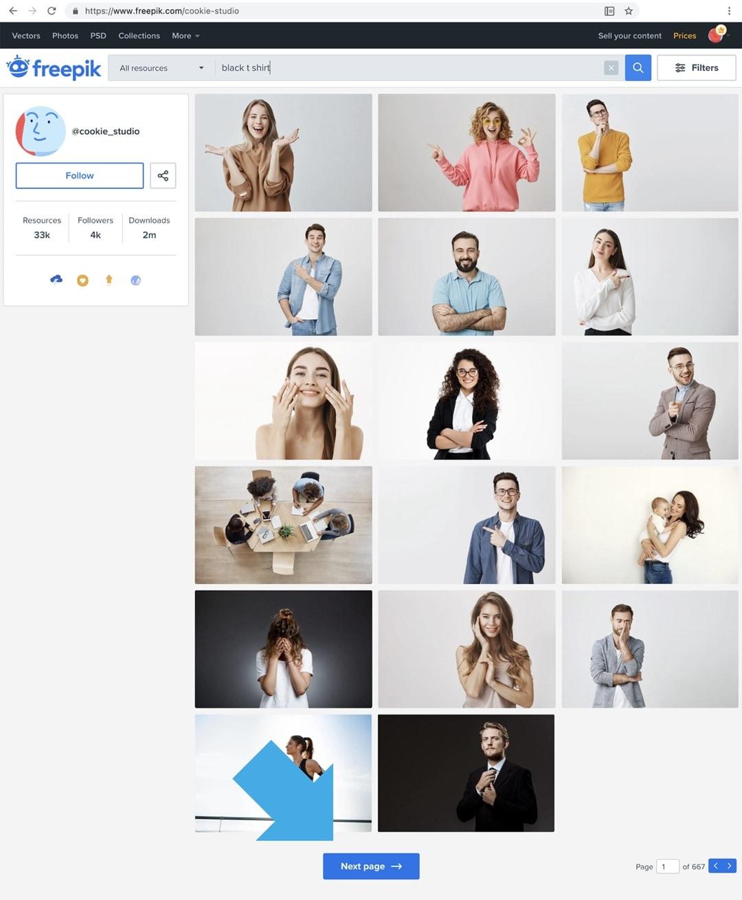 Freepik search single artist portfolio
