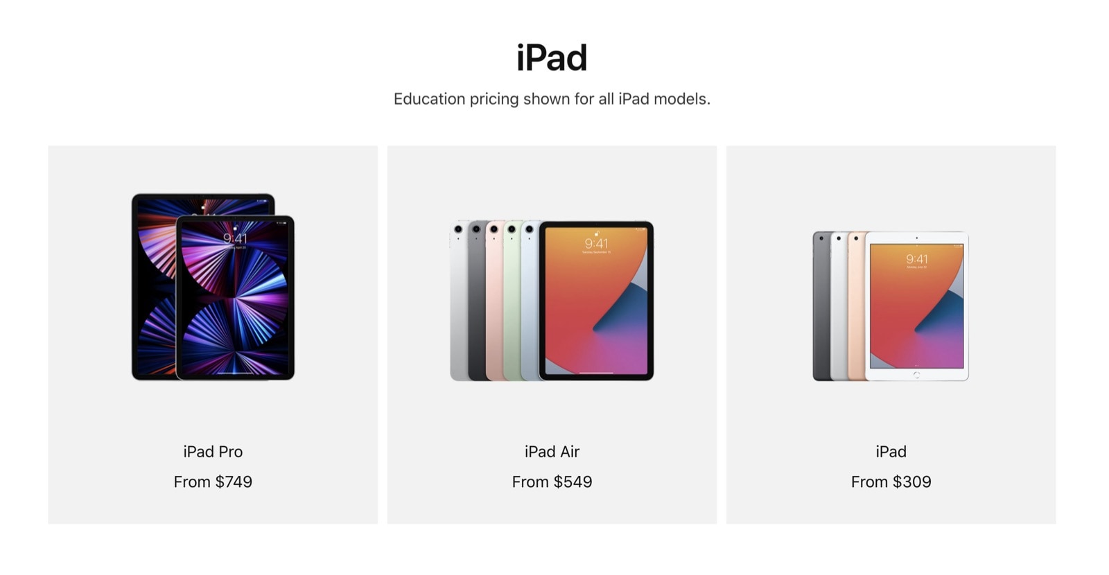iPad Pro 2021 prices for students