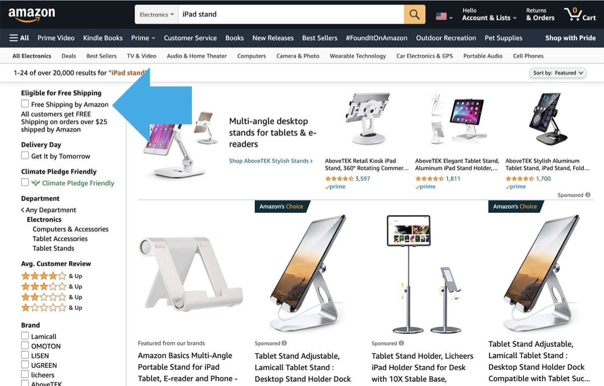 Find Prime eligible iPad accessories on Amazon - search pages