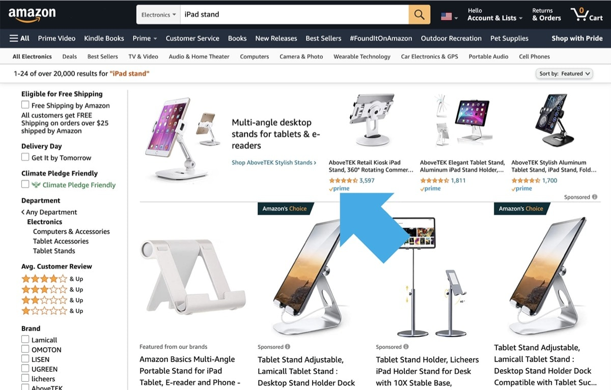 Find Prime products for iPad - recommended items on search pages