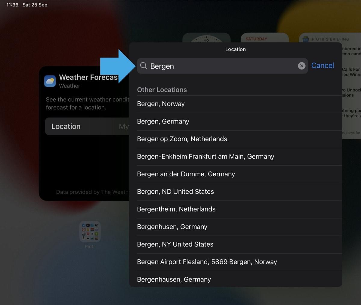 Add location in Weather widget iPad