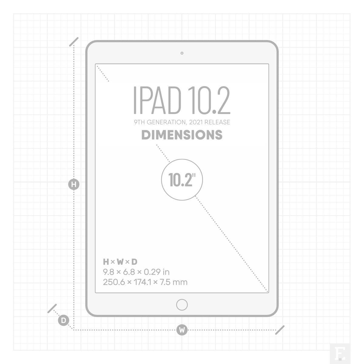 Apple iPad 10.2 2021 dimensions screen size