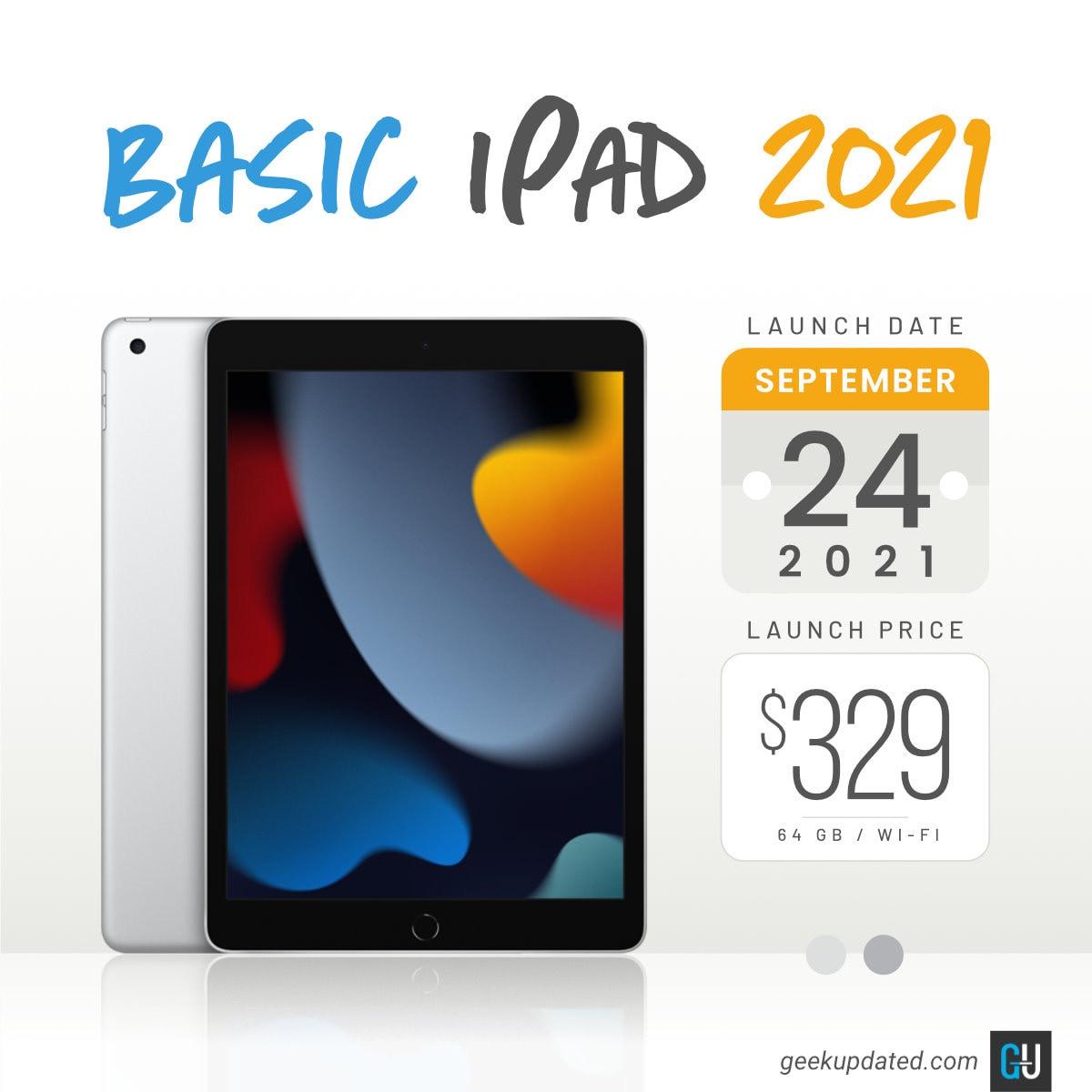 Basic Apple iPad 10.2 model 2021 specs