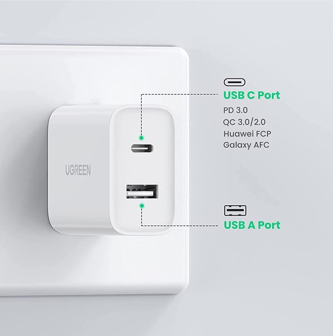 Compact USB-C wall charger - best camping gear for iPad and iPhone