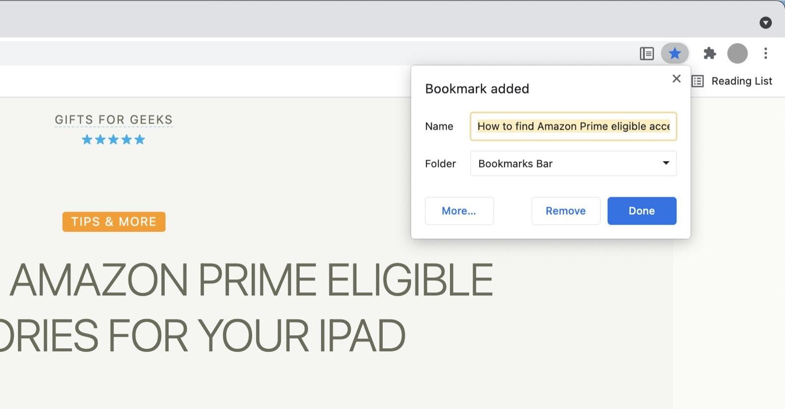 Google Chrome - skip Reading List when adding bookmark