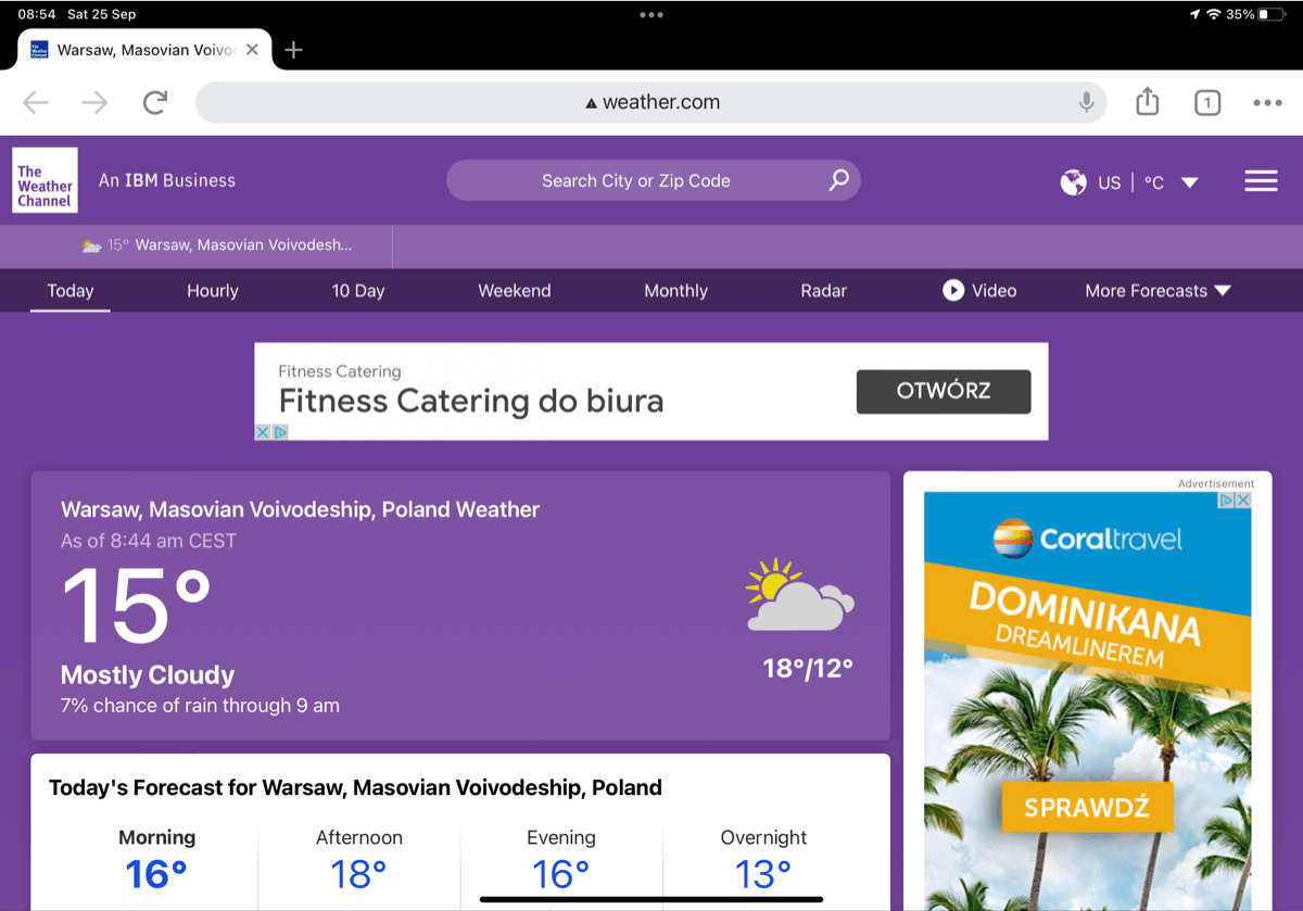 The Weather Channel website linked from Weather widget on iPad