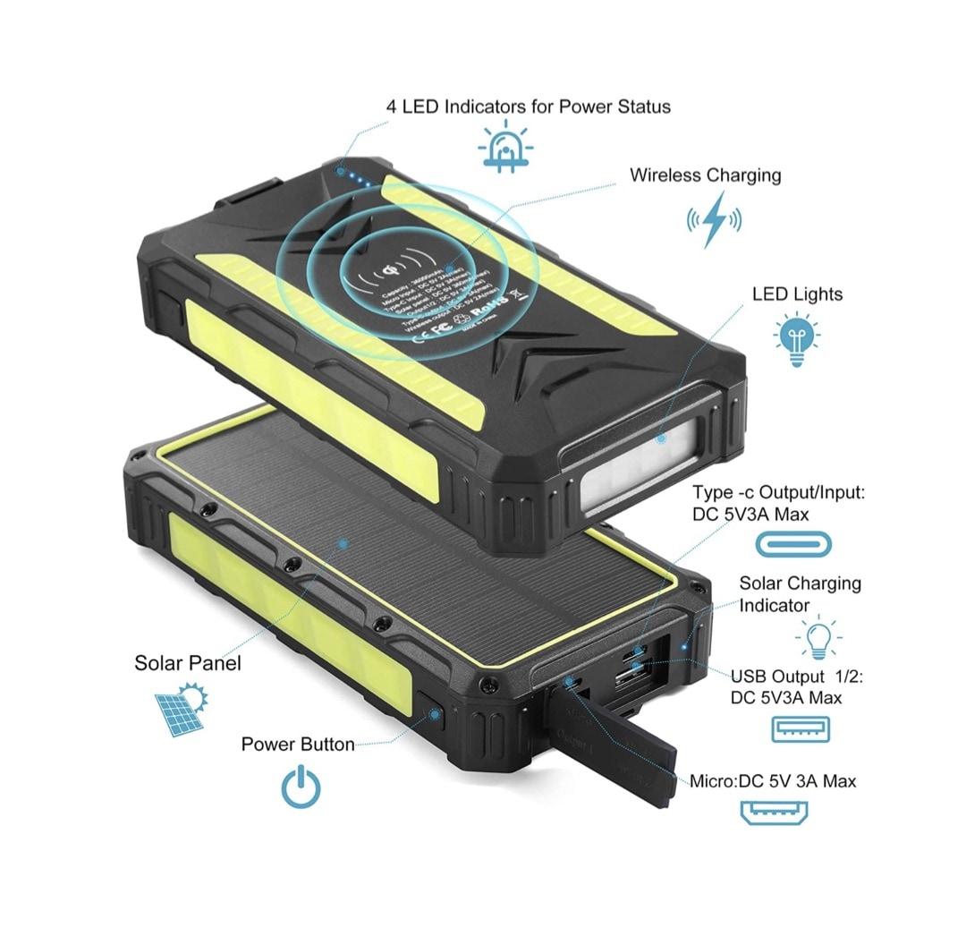 Waterproof solar powerbank - best iPad iPhone camping accessories