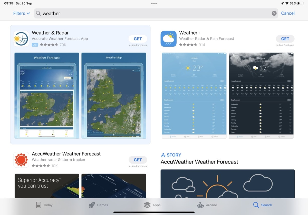 Weather apps in the iPad App Store