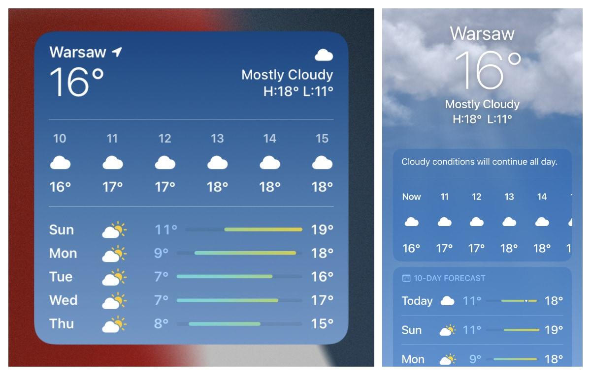 Weather widget iPad vs Weather app iPhone