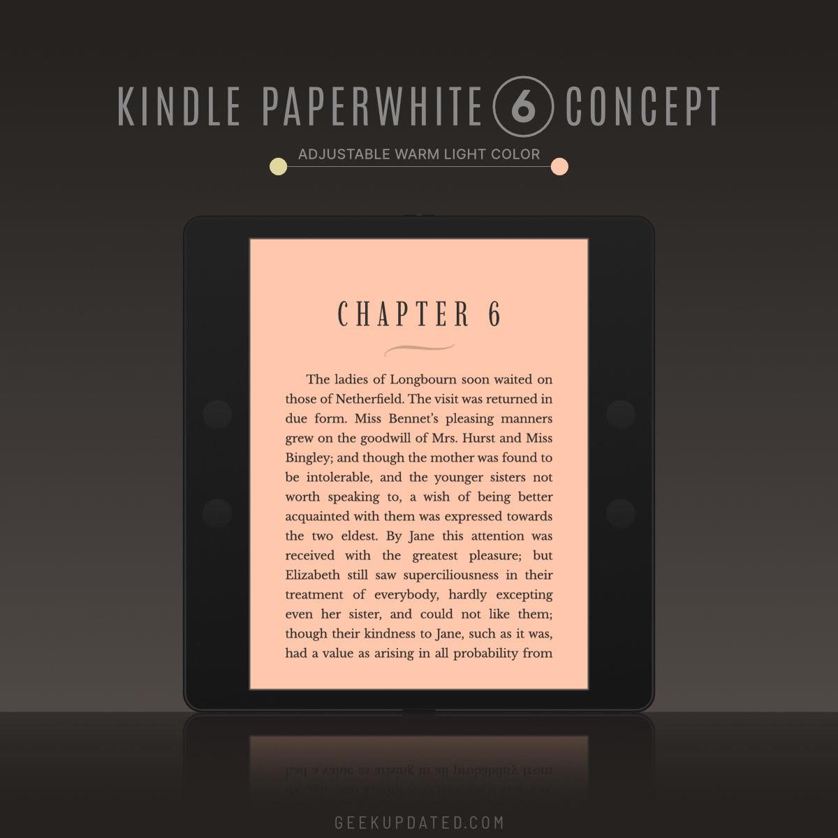 Kindle Paperwhite 6 concept - orange warm light