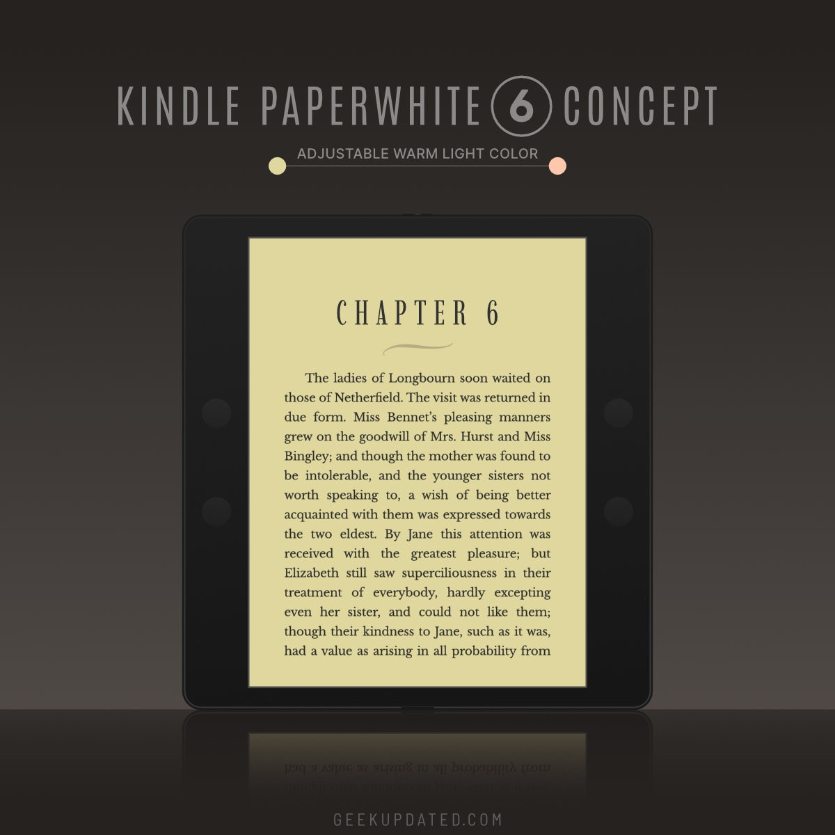 Kindle Paperwhite 6 concept - yellow warm light